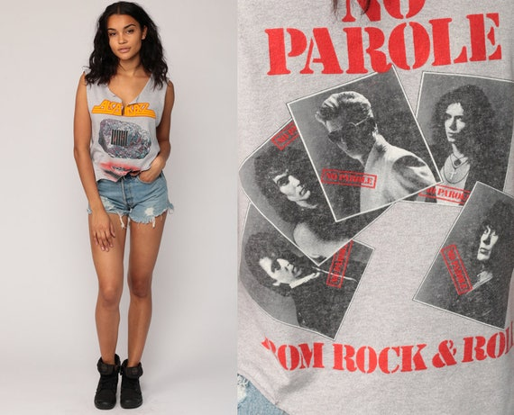 Band Shirt Alcatrazz 80s Band Tee NO PAROLE Concert Tshirt Tour Tank Top Destroyed Ripped Heavy Metal Vintage Rock Small Medium