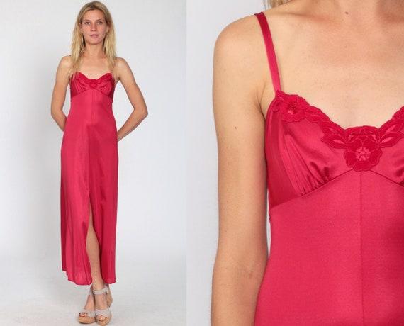 Vanity Fair Nightgown Cherry Red Lingerie 70s Slip Dress Long Maxi Bohemian Front Slit 1970s Vintage Boho Romantic Extra Small xs 30
