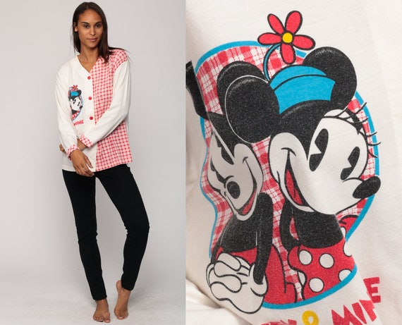 Disney Pajama Shirt MICKEY + MINNIE Mouse Sleep Shirt Pajama Button Up 80s Night Shirt PJs Retro Vintage Adult Pajamas Red Large