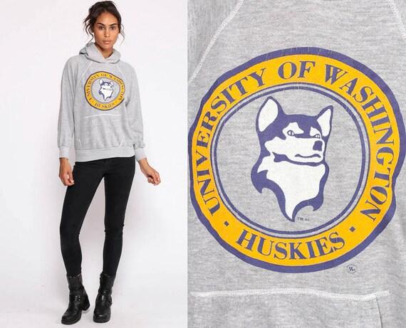 Washington Huskies Sweatshirt University Shirt 80s Hooded Retro Grey Hoodie College 1980s Vintage Jumper Hood Small