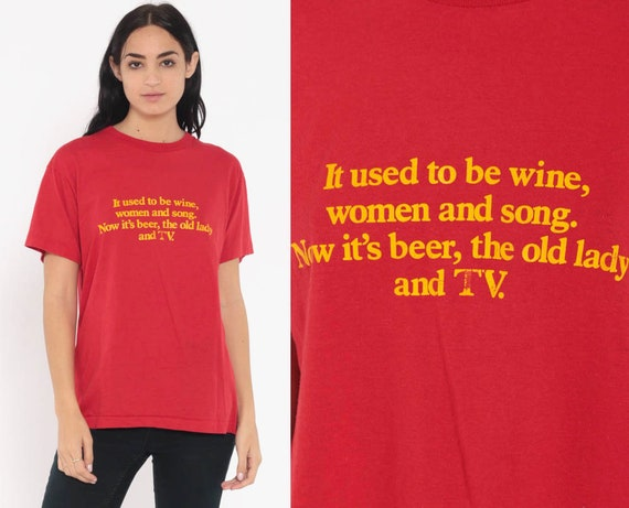 Vintage Screen Stars Shirt WINE WOMEN And SONG Graphic Shirt Dad Joke Sarcastic Shirt 80s Tshirt Retro T Shirt Slogan Small Medium