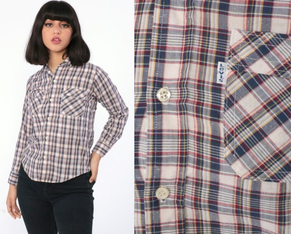 Plaid LEVIS Shirt 80s Plaid Cotton Red Blue Western 1980s Levi Button Down up Vintage Checkered Long Sleeve Extra Small xs 0