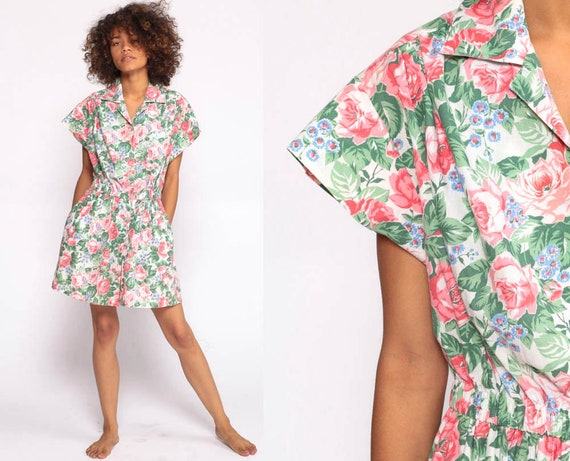 80s Romper One Piece Floral Onesie Print High Waist Pocket Button Up 1980s Vintage Playsuit Shorts Hipster Pink Green Medium