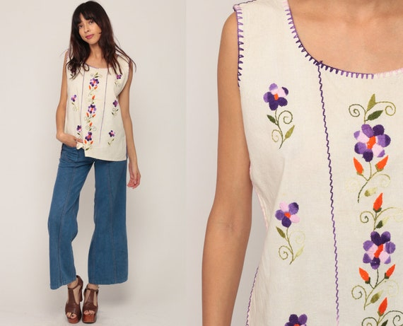Mexican Tank Top Embroidered Blouse Hippie Boho Shirt Floral FESTIVAL Cotton Tunic Top Bohemian Off-White Vintage Ethnic Medium