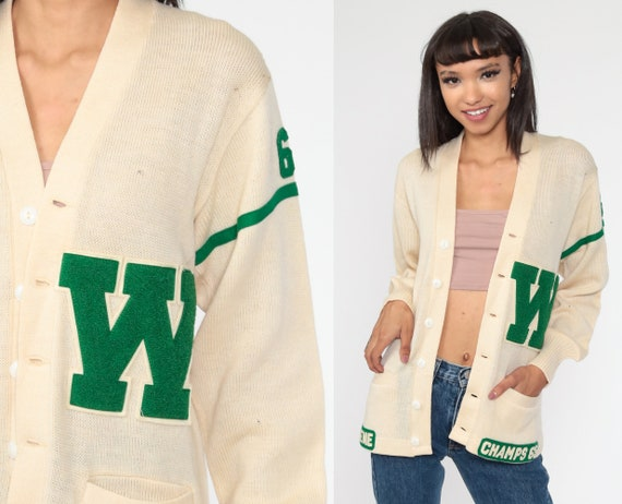 1965 Varsity Sweater GENE Wool Cardigan 66 Letterman Cardigan 1960s College Sweater Cream Button Up 60s Vintage Retro