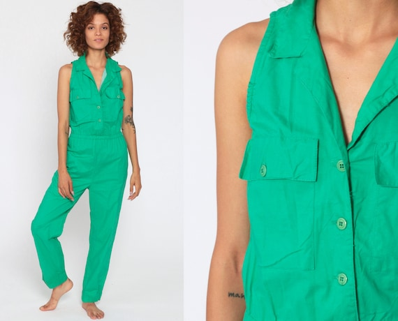 80s Jumpsuit Bright Green Onesie Tapered Pant Button Up Jumpsuit Cargo Pocket High Waisted 1980s Vintage Pantsuit Sleeveless Extra Small xs