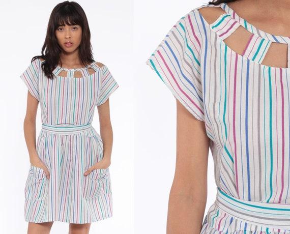 Summer Cutout Dress 80s Mini Stripe 1980s Boho Cotton Pocket Cap Sleeve Rainbow Retro Vintage Cut Out Keyhole Bohemian White Medium