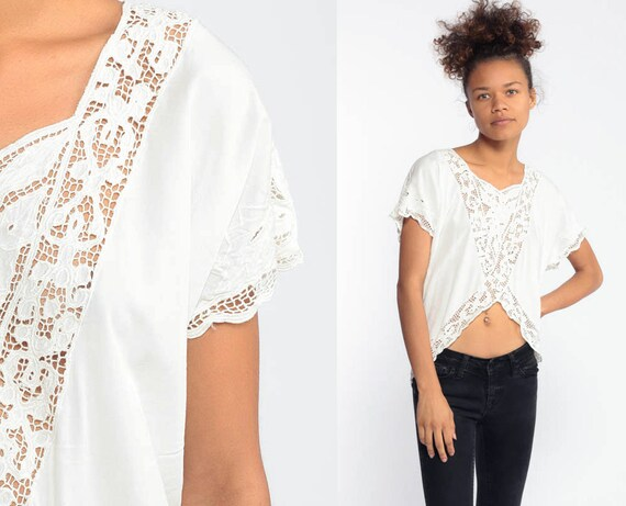 80s Sheer Lace Blouse White CUTOUT Crop Blouse Embroidery Mesh Bali Bohemian White Crop Top Boho Festival Shirt Summer Top Vintage 70s Small