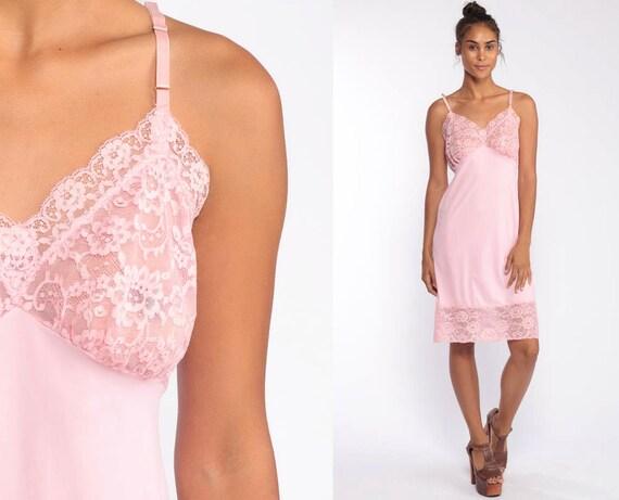 Pink Lace Slip Dress 80s Sheer Nightgown Lingerie Mini Nylon Boho Vintage 70s Pastel Baby Pink V Neck Empire Waist Spaghetti Strap Medium