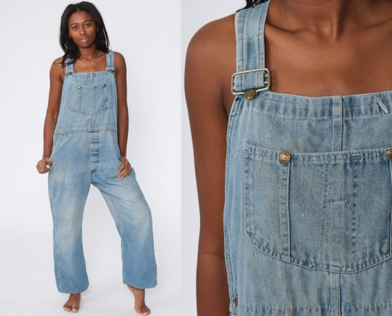 Denim Overalls Pants -- Distressed Overalls 80s De