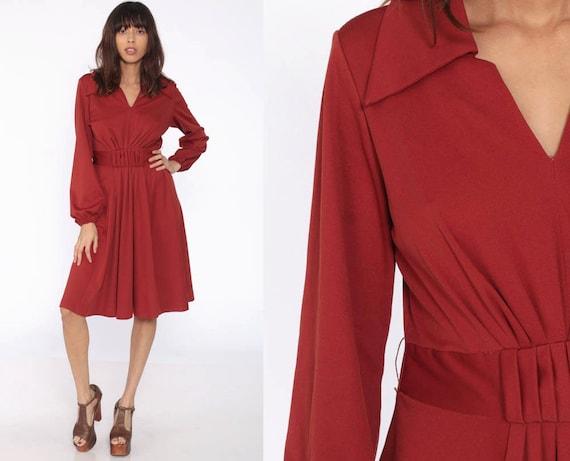 Rust Grecian Dress Disco Dress 70s Midi Party V Neck High Waisted Boho Retro Long Sleeve 1970s Vintage Flared Medium