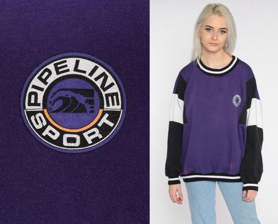 Surfer Sweatshirt Pipeline Sport Sweatshirt Purple Slouch 90s Pullover Striped 1990s Vintage Graphic Sweatshirt Extra Large xl