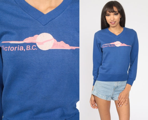 Victoria BC Sweatshirt 80s Canada Shirt Purple British Columbia Shirt 1980s Vintage Graphic Travel Sweatshirt V Neck Extra Small xs