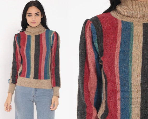Muted Rainbow Sweater 80s Puff Sleeve Sweater Turtleneck 70s Boho Knit Striped Bohemian Hippie Neutral Slouchy Pullover Vintage Small xs