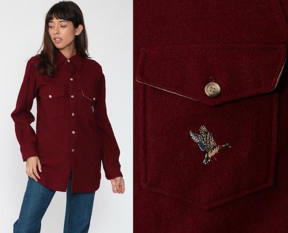 Wool Shirt 70s Burgundy Duck Shirt Button Up Shirt Long Sleeve Blouse Winter Shirt Hunting Shirt Retro Vintage 1970s Men's Small