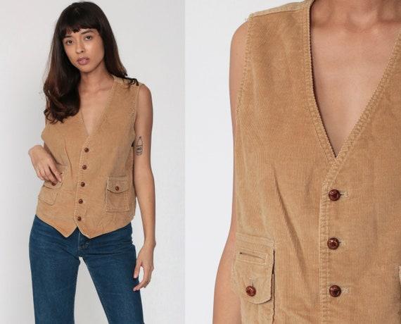 Tan Corduroy Vest 70s Professor Boho Vest Top 70s Bohemian Shirt Button Up Vintage Retro 80s Men's 40 R Medium