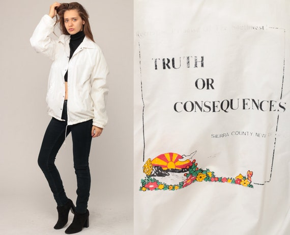 70s Jacket TRUTH OR CONSEQUENCES New Mexico Windbreaker Retro White Graphic Hipster Collar Vintage 1970s Retro Snap Medium