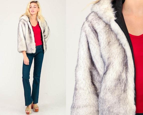 Faux Fur Coat HOODED Coat Fake Fur Jacket 80s Hoodie Jacket Grey Boho Hood Vegan Bohemian Vintage Hipster Chunky Zip Up Medium