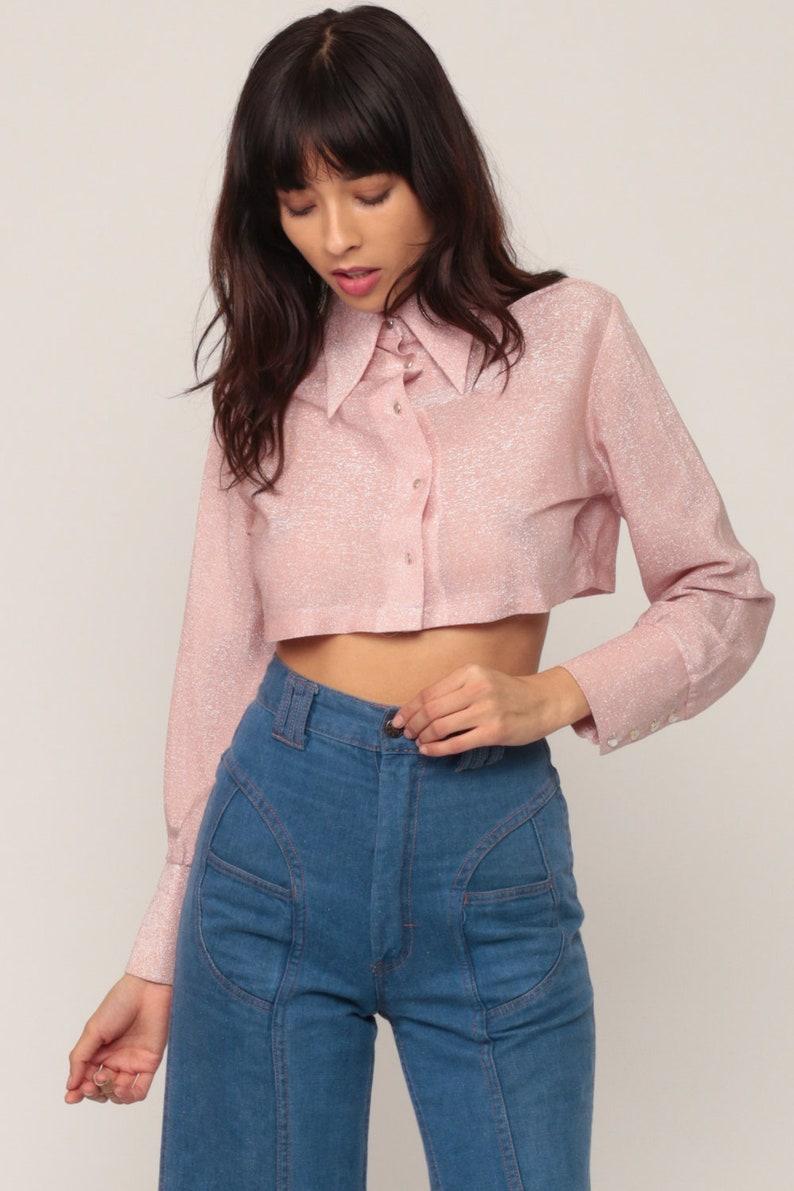 5c0001078a32b Metallic Crop Top Pink Blouse Silver Shirt 70s Disco Top