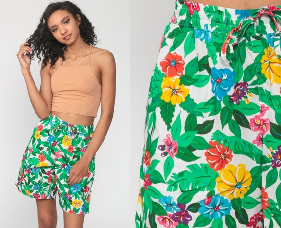 90s Vintage Silk Floral High Waisted Shorts By Forenza size medium to large