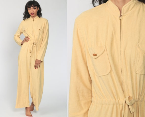 Yellow Jumpsuit 70s Terry Cloth Button Up Straight Leg Pants Pantsuit Vintage Long Sleeve Romper 1970s High Waisted Retro Zip Up Medium