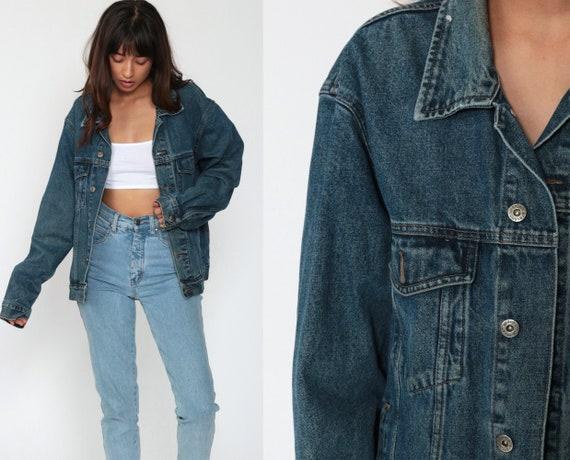 Wrangler Denim Jacket -- Blue Jean Jacket 90s Biker Blue Trucker Jacket Oversized Boyfriend Fit Vintage 1990s Medium Large