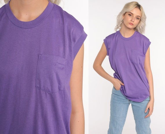 Purple Muscle Tee Shirt 80s Tank Top Tee Retro Shirt Plain Sleeveless Top 1980s Pocket Shirt Plain Vintage Gym Retro Medium