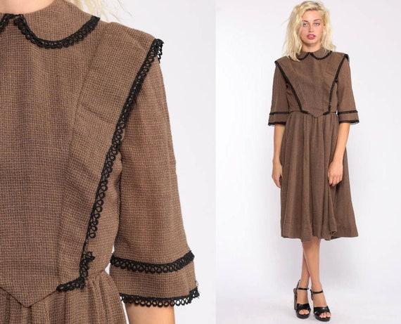 Peter Pan Dress 50s Dress Day Dress Midi Dress Brown 1950s Vintage WWII Dress 40s Dress Tea Length High Waist Small