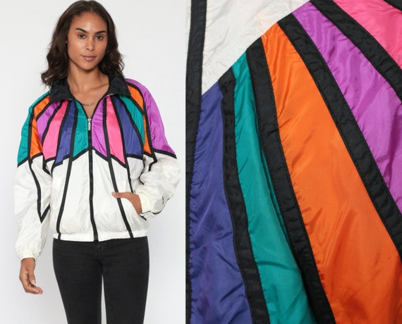 80s Windbreaker RAINBOW Jacket Striped Color Block Funnel Neck Shiny Nylon Head 90s White Coat Hipster Vintage 1980s Small Medium