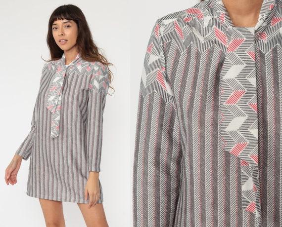 1970s Ascot Dress Grey Mod Dress Shift 60s Mini BOW Neck Vintage Striped Dress 70s Secretary Minidress Small S