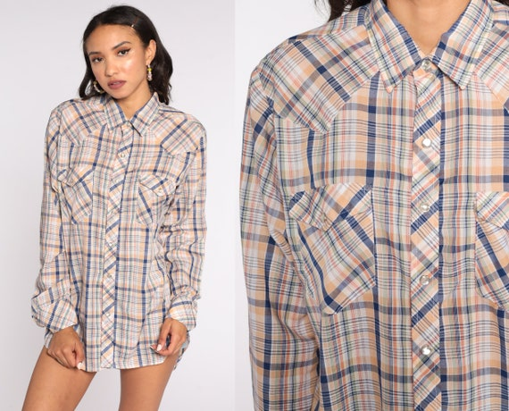 Pearl Snap Shirt 80s Western Plaid Top Western Shirt Yellow White Blue Cotton Vintage Hipster Checkered Button Up Yoke Men's Large