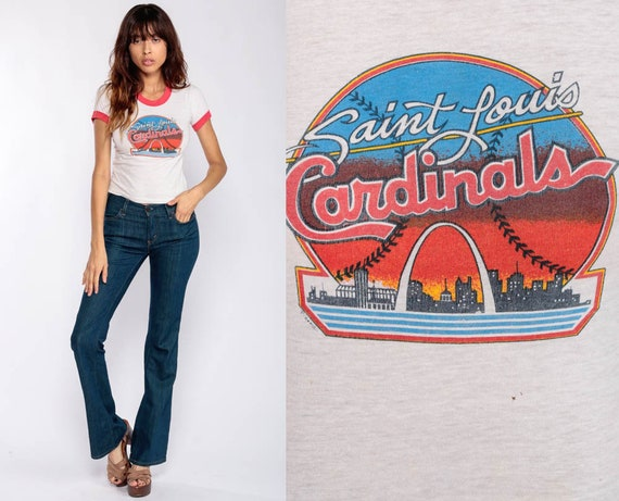St Louis Cardinals Shirt Ringer Tee Shirt Baseball Shirt 80s Graphic Retro Tshirt Vintage Sports Burnout Tee Paper Thin 1980s Extra Small xs