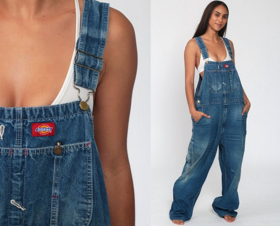 DICKIES Denim Overalls 90s Overalls Mens Bib Baggy Dungarees Long Jean Pants Work Wear Suspender 1990s Carpenter Extra Large XL