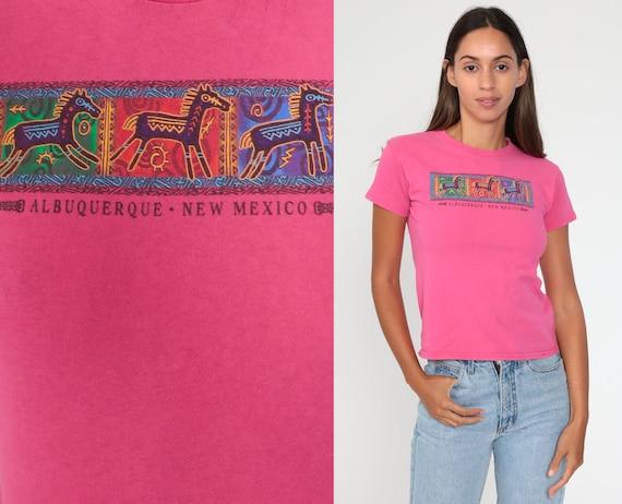New Mexico Shirt Southwest Horse T Shirt Graphic Tshirt 80s Print Southwestern 90s Vintage Hot Pink Southwest Extra Small xs