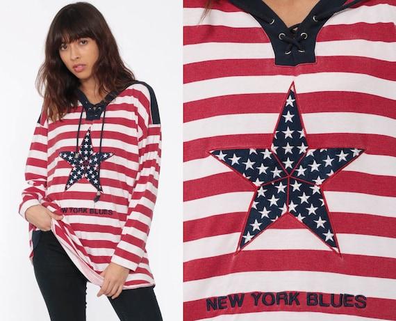 Striped Shirt STAR Long Sleeve Shirt Patriotic American Nautical Sailor 90s Grunge Retro Tee Tshirt Vintage Red White Blue Medium Large