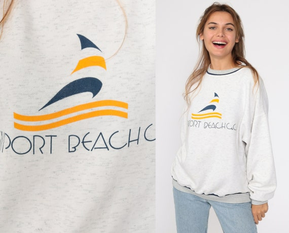 Newport Beach Sweatshirt Sailboat Sweatshirt Boat Nautical 90s Retro Slouchy Jumper Pullover Grey 1990s Vintage Extra Large xl l