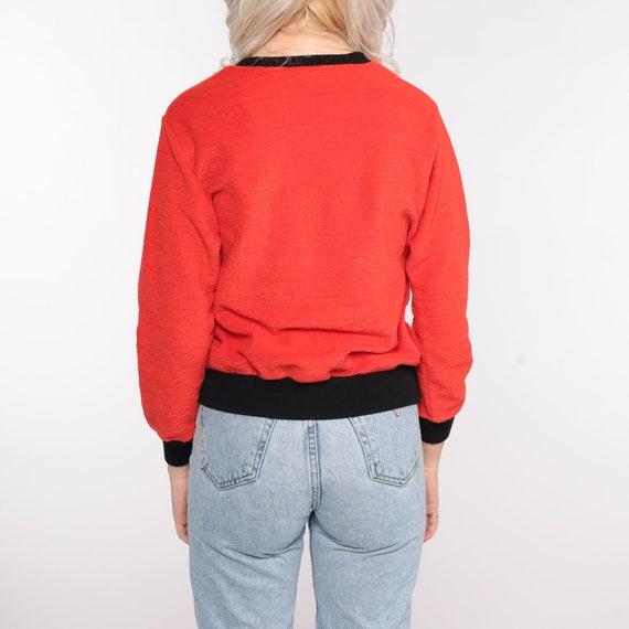 Terry Cloth Sweater 70s Red-Orange Umbrella Shirt… - image 6
