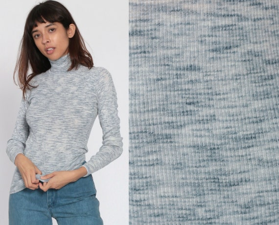 Turtleneck Ribbed Shirt 80s Top Space Dye Shirt Grey-Blue Long Sleeve 1980s Funnel Retro Turtle Neck Top Vintage Simple Extra Small xs s