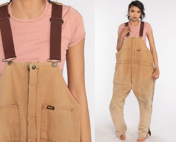 Tan INSULATED Overalls Key Coveralls Workwear Brown Baggy Bib Pants Work Wear Long Cargo Vintage Dungarees Extra Large xl