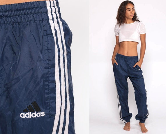 ADIDAS Track Pants 80s Joggers Baggy Jogging Track Suit Warm Up Suit Blue Athletic Pants 1980s Sports Vintage Retro Small