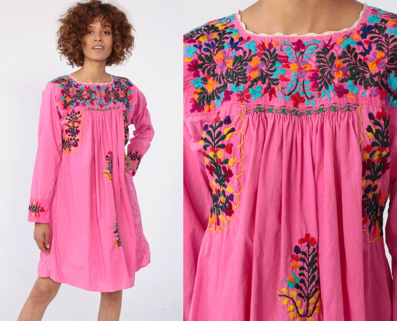 Ethnic Mexican Hippy Boho Floral Beach Indian Retro 70s Blouse Dress Top Cotton