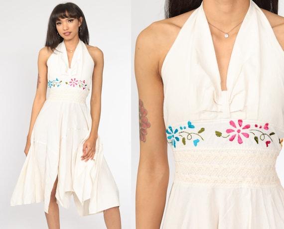 Mexican Dress Handkerchief 90s Crochet EMBROIDERED Boho Gauze HANKY Bohemian 1990s Halter Neck Vintage Deep V Hippie Cream Medium Large