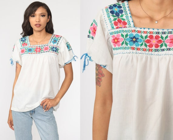 Mexican EMBROIDERED Blouse Peasant Blouse Hippie Top Floral Shirt Boho Shirt FESTIVAL Tunic Bohemian Vintage Ethnic Retro Small S