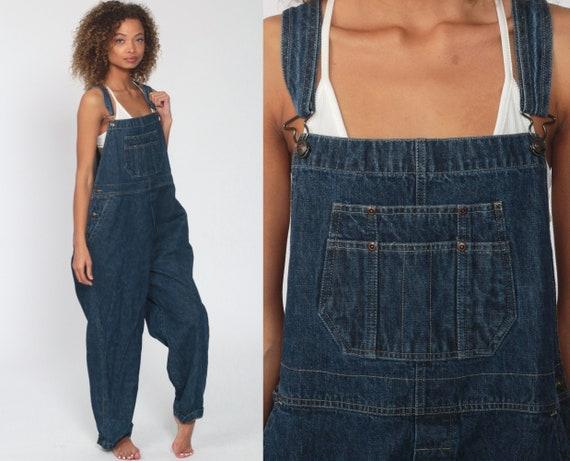 Denim Overalls Pants St John's Bay Jeans 80s Denim Bib Yank Bib Overalls Pants Baggy Dark Blue Long Jean Dungarees Vintage Extra Large xl