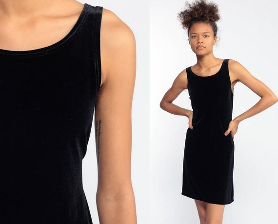 Black VELVET Dress Mini 90s Cocktail Party Goth 1990s Vintage LBD Sexy Sleeveless Hipster Gothic Formal Extra Small xs xxs