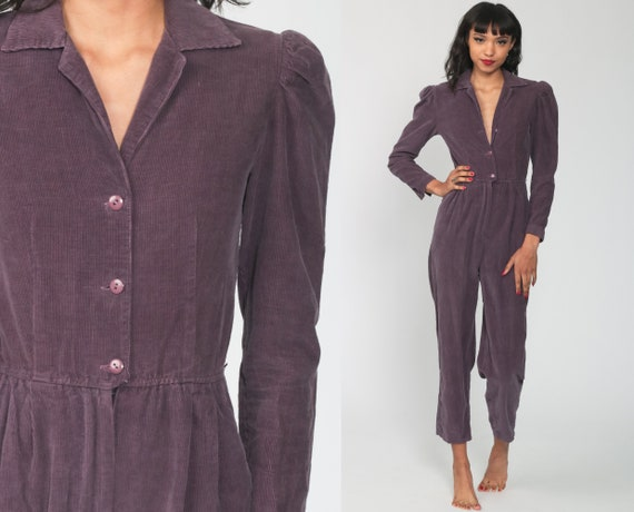80s Corduroy Jumpsuit -- Purple Puff Sleeve Jumpsuit High Waisted One Piece Button Up Pantsuit Vintage Romper Pants 1980s Extra Small xs