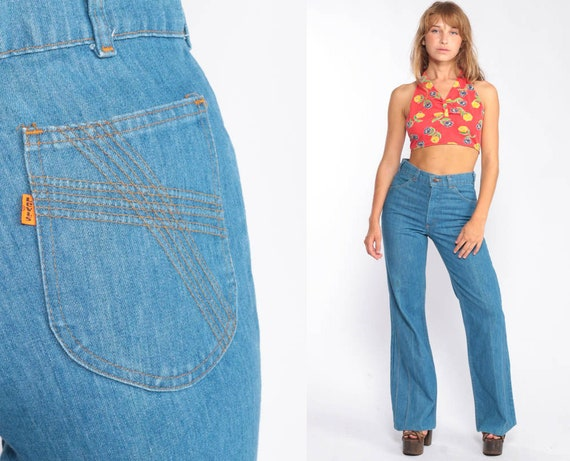 70s Levis Jeans 28 Bell Bottoms Pants Jeans Denim Hippie Jeans Blue High Waisted Flared Hipster 1970s Bohemian Vintage Boho Small 4