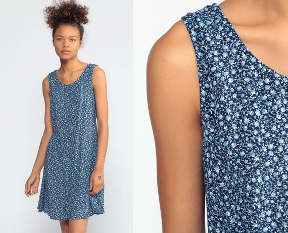 Blue Floral Dress Grunge Mini 90s Tank Dress Corset Lace Back Sundress 1990s Boho Vintage Minidress Sleeveless Summer Shift Extra Small xs s