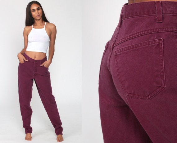 Plum Purple Jeans Straight Leg 90s COLOR High Waist Jeans Mom Jeans High Waisted 80s Denim Burgundy Pants Colored Jeans Vintage Small 28