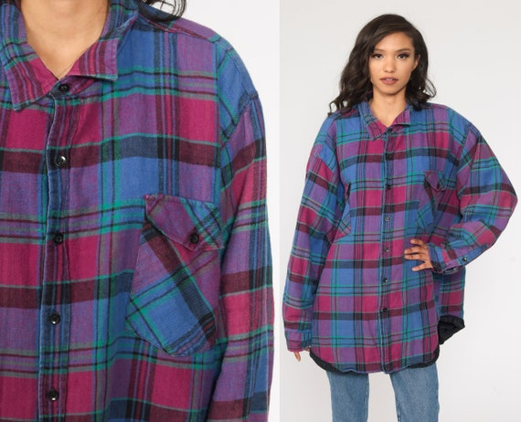 Blue Plaid Shirt 90s PLAID Flannel Long Sleeve Grunge Quilted Cpo Lumberjack Cotton Long Sleeve Button Up Vintage 1990s Extra Large 3xl xxxl